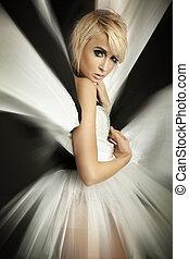 girl, surprenant, beau, robe, blond