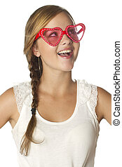 girl surprised emotion with heart sunglasses