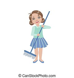 Girl Sweeping The Floor With The Broom