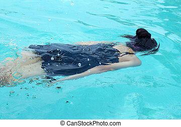 Girl swimming in the pool.
