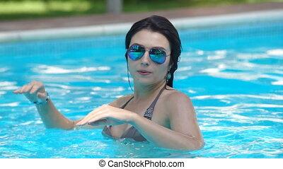 Girl swimming pool - Beautiful young woman, summer vacation ...