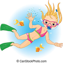 Girl swimming under water - Holiday with Scuba Diving. Girl...