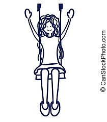 girl swinging drawing isolated icon