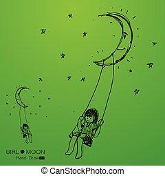 girl swinging on a moon