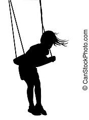 girl swinging, silhouette