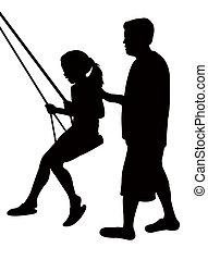 girl swinging, silhouette