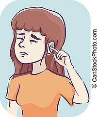 Girl Symptom Itchy Ear Illustration - Illustration of a Girl...