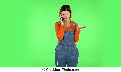 girl, téléphone, écran, vert, parle, colère, something., proves