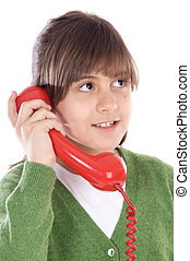 girl, téléphone, parler