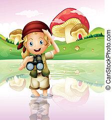 girl, télescope, elle, lac