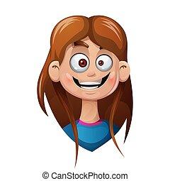 girl., tête, smiley, dessin animé, rigolote