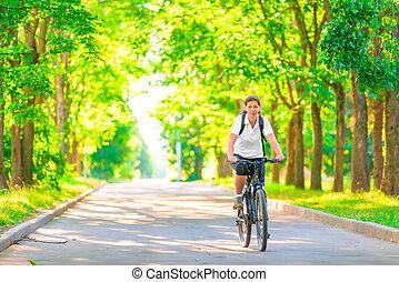 girl, tôt, jeune, parc bicyclette, matin