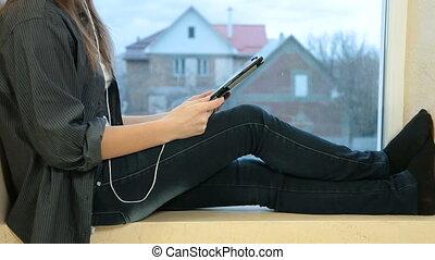 girl, tablette, numérique