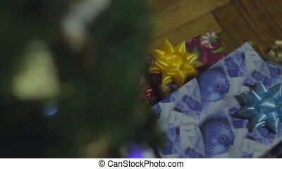 Girl Take New Year Gift Under Cristmass Tree