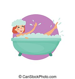 Girl taking a bubble bath in a vintage bathtub, woman caring for herself, healthy lifestyle vector Illustration