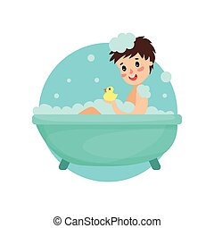Girl taking bath in foam and soap, woman caring for herself, healthy lifestyle vector Illustration