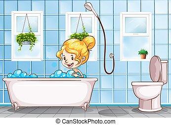 Girl taking bath in the bathroom