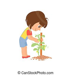 Girl Taking Care Of A Plant