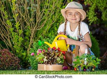 Girl Taking Care of Garden