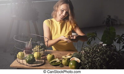 Girl Taking Photo of Healthy Food - Smiling girl taking...