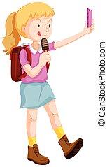 Girl taking selfie and eating icecream