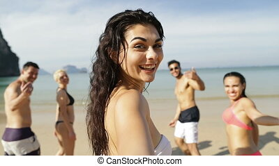 Girl Taking Selfie Of Cheerful People Running In Water On Beach, Happy Young Man And Woman Group Having Fun