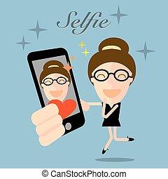 girl taking selfie photo on smart phone concept illustration