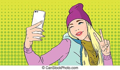 Girl Taking Selfie Photo On Smart Phone Show Two Finger ...