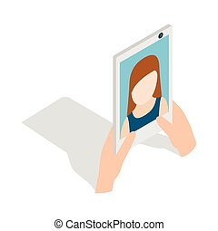 Girl taking selfie photo on smartphone icon