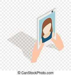 Girl taking selfie photo on smartphone isometric