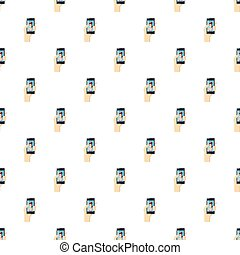 Girl taking selfie photo on smartphone pattern