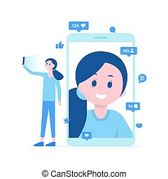 Girl taking selfie, video call. Many likes, comments. Vector illustration.