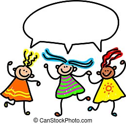 girl talk - A group of happy and diverse little girls...