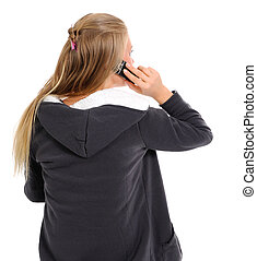 Girl, talking on phone. The rear view.