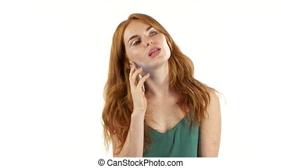 Girl talking on the phone. White background