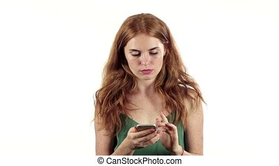 Girl talking on the phone. White background. Slow motion