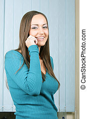 Girl talking phone and smiling