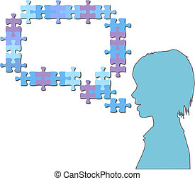 Girl talks in jigsaw puzzle pieces speech bubble - A...