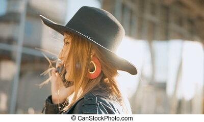 Girl Talks on Phone Happily