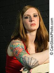 girl, tatouage, 2