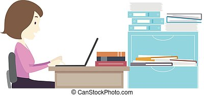 Girl Teacher Browse Laptop Faculty Room - Illustration of a...