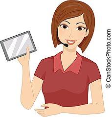 Girl Teacher FM Transmitter Tablet Illustration