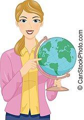 Girl Teacher Globe Illustration