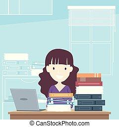 Girl Teacher Laptop Books Faculty Room
