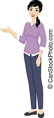 Girl Teacher Present Illustration