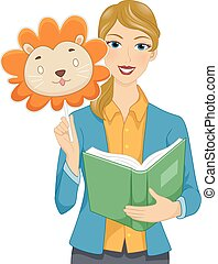 Girl Teacher Story Book Finger Animal Mask