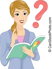 Girl Teacher Story Question Book Illustration