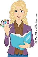 Girl Teacher Storybook Finger Puppets Illustration