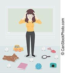 Girl Teacher Stressed Classroom Mess Illustration
