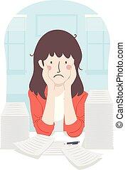 Girl Teacher Stressed Papers Illustration